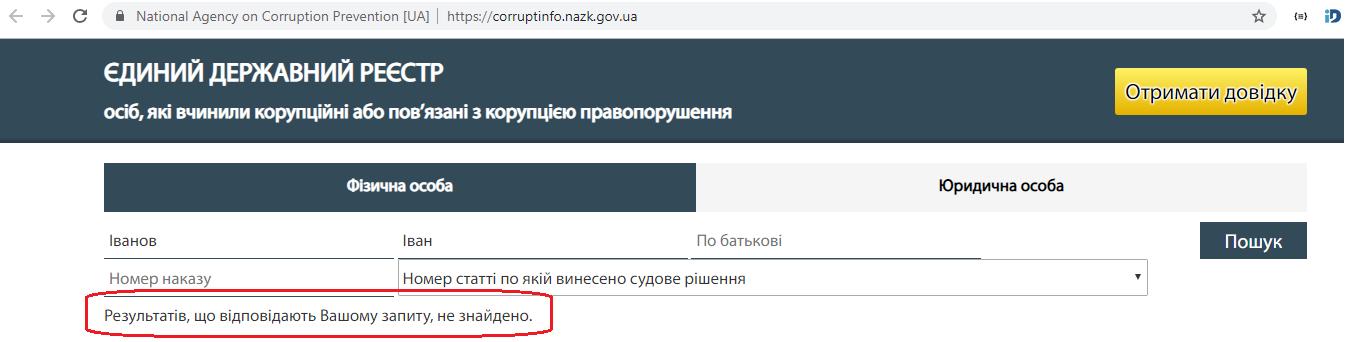 Реєстр корупційних правопорушень